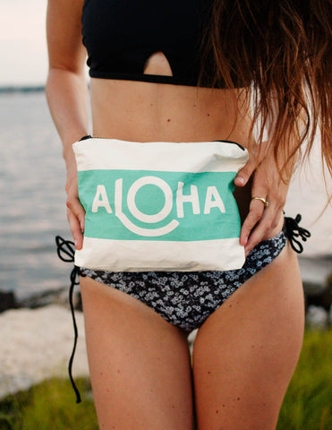 Aloha Collection - Small Splash Proof Pouch Ocean Waikiki Stripe - Bungalow Seven
