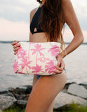 Aloha Collection - Mid-size Splash Proof Pouch Pink Coco Palms - Bungalow Seven