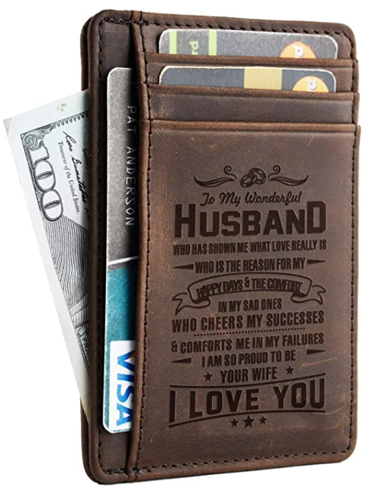 Premium Leather Slim Wallet - Wife to Husband