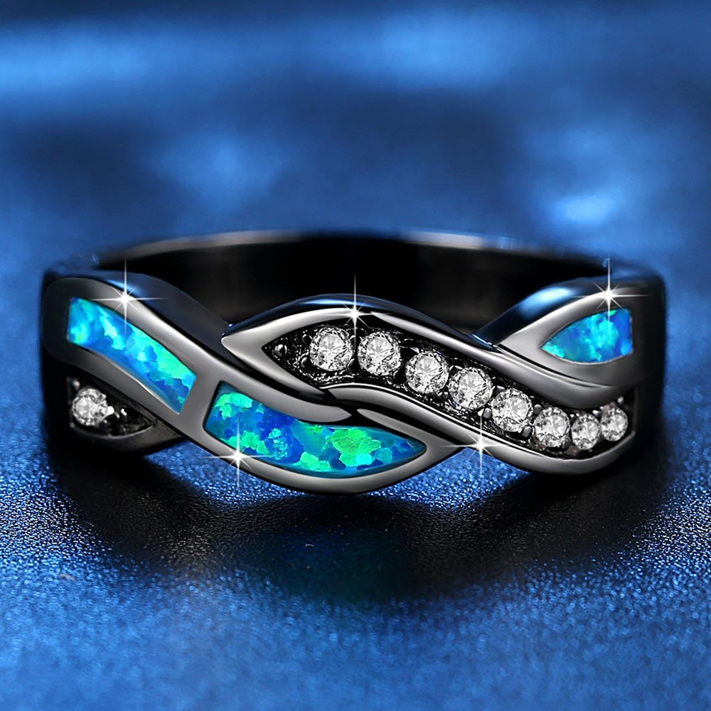 Uzfur™ Ocean Blue Fire Opal Ring