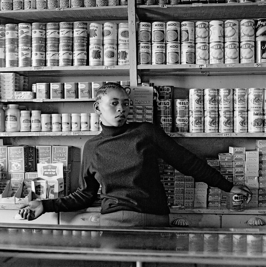 David Goldblatt Shop assistant, Orlando West, Soweto. 1972