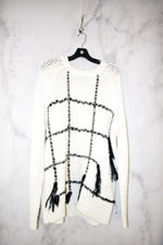 Primary Photo - BRAND: TORY BURCH <BR>STYLE: SWEATER HEAVYWEIGHT <BR>COLOR: WHITE BLACK <BR>SIZE: XL <BR>SKU: 186-186167-25834