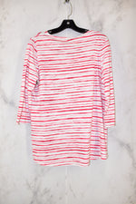 Photo #1 - BRAND: CHICOS <BR>STYLE: TOP LONG SLEEVE BASIC <BR>COLOR: RED WHITE <BR>SIZE: 0 <BR>SKU: 186-186206-1160