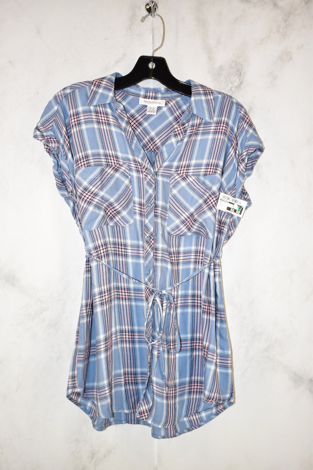 Primary Photo - BRAND: MOTHERHOOD <BR>STYLE: MATERNITY TOP SHORT SLEEVE <BR>COLOR: PLAID <BR>SIZE: S <BR>SKU: 186-186106-9123