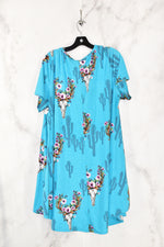 Photo #1 - BRAND:    CLOTHES MENTOR <BR>STYLE: DRESS SHORT SHORT SLEEVE <BR>COLOR: BLUE <BR>SIZE: 2X <BR>OTHER INFO: LUCKY & BLESSED - <BR>SKU: 186-186106-7400