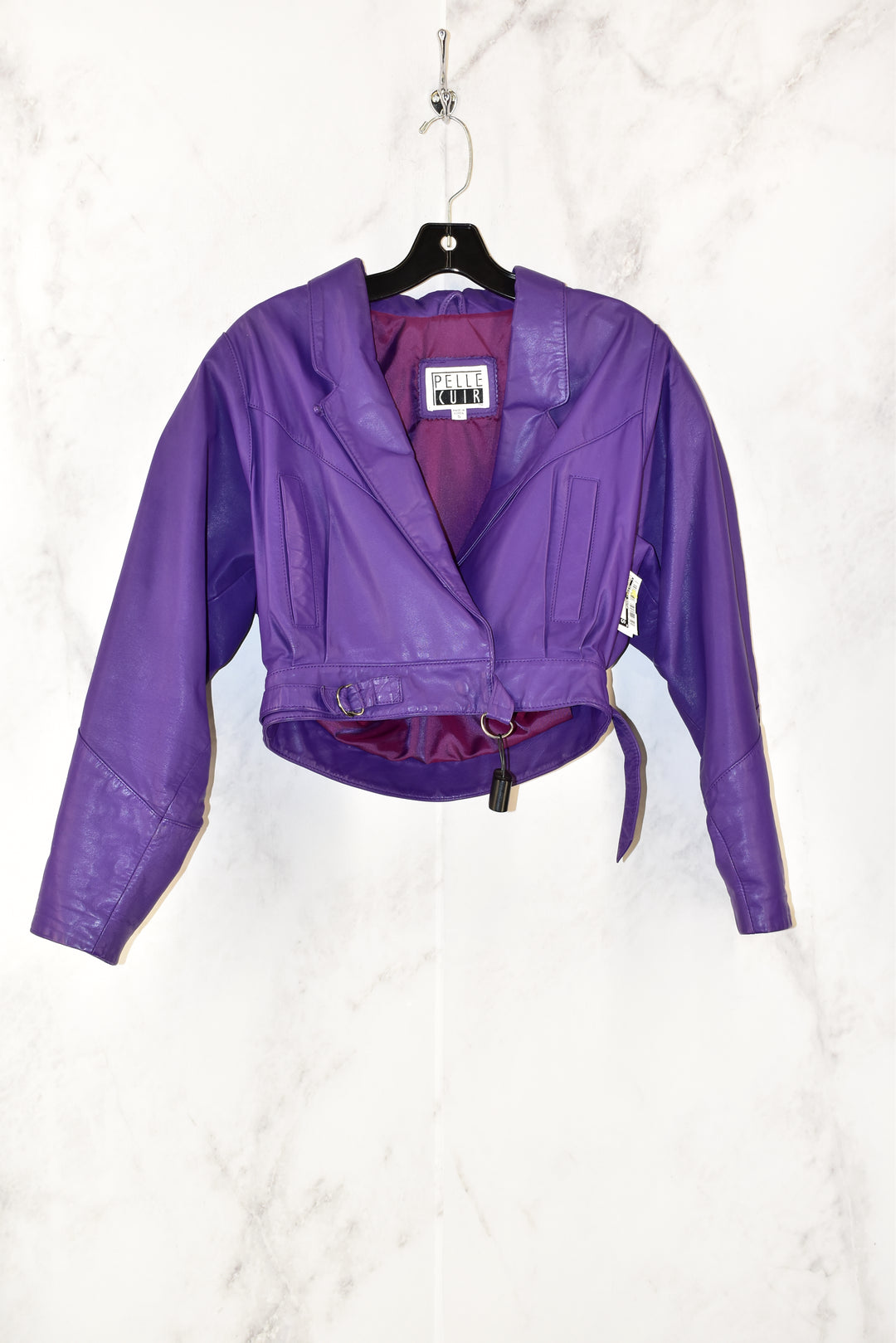 Primary Photo - BRAND:    CLOTHES MENTOR <BR>STYLE: JACKET LEATHER <BR>COLOR: PURPLE <BR>SIZE: S <BR>OTHER INFO: PELLE CUIR - <BR>SKU: 186-186167-16078