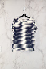Primary Photo - BRAND: OLD NAVY<BR>STYLE: TOP SHORT SLEEVE<BR>COLOR: WHITE BLUE<BR>SIZE: L<BR>SKU: 186-186179-6815