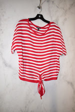 Primary Photo - BRAND: EXPRESS <BR>STYLE: TOP SHORT SLEEVE <BR>COLOR: RED WHITE <BR>SIZE: XS <BR>SKU: 186-186217-3665