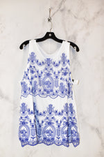 Primary Photo - BRAND: CHARTER CLUB <BR>STYLE: TOP SLEEVELESS <BR>COLOR: WHITE BLUE <BR>SIZE: 2X <BR>SKU: 186-186167-22395