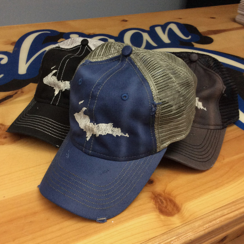 Distressed Mesh Back Cap with Upper Peninsula Design