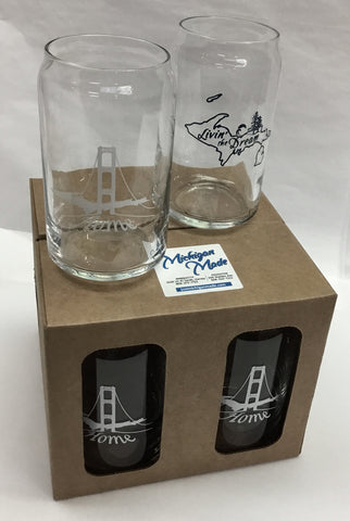 Boxed Set of Beer Can Design Glasses