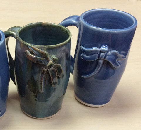 Pottery Mugs - Dragonfly Design