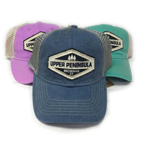 Ladies Hat Upper Peninsula Mesh Back Cap with Embroidered Design