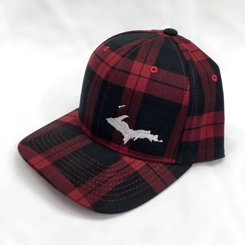 Hat - UP Embroidered Plaid Flexfit Red, Green, Black, Brown