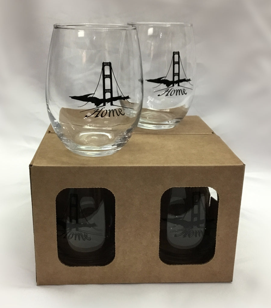 Stemless Wine Glass Boxed Set large UP Mackinac Bridge Home