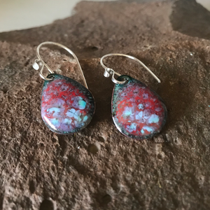 Red and Blue Crackle Effect Teardrop Earrings