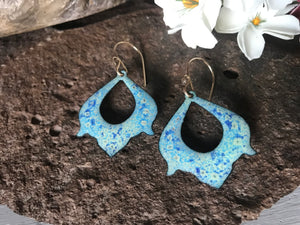 Crackle Effect Blue and Green Earring Handmade