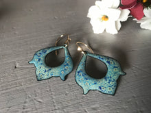 Load image into Gallery viewer, Crackle Effect Blue and Green Earring Handmade