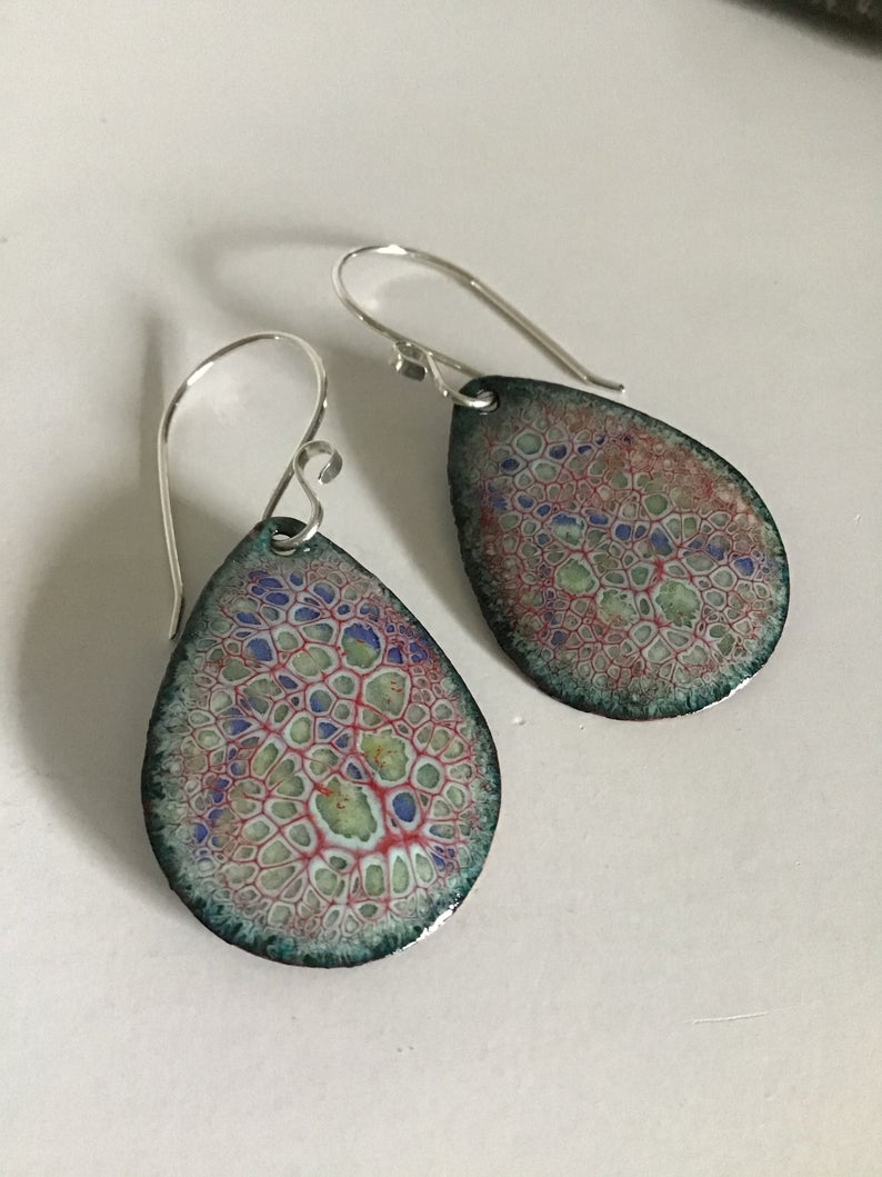 Multi-Colored Crackle Large Teardrops