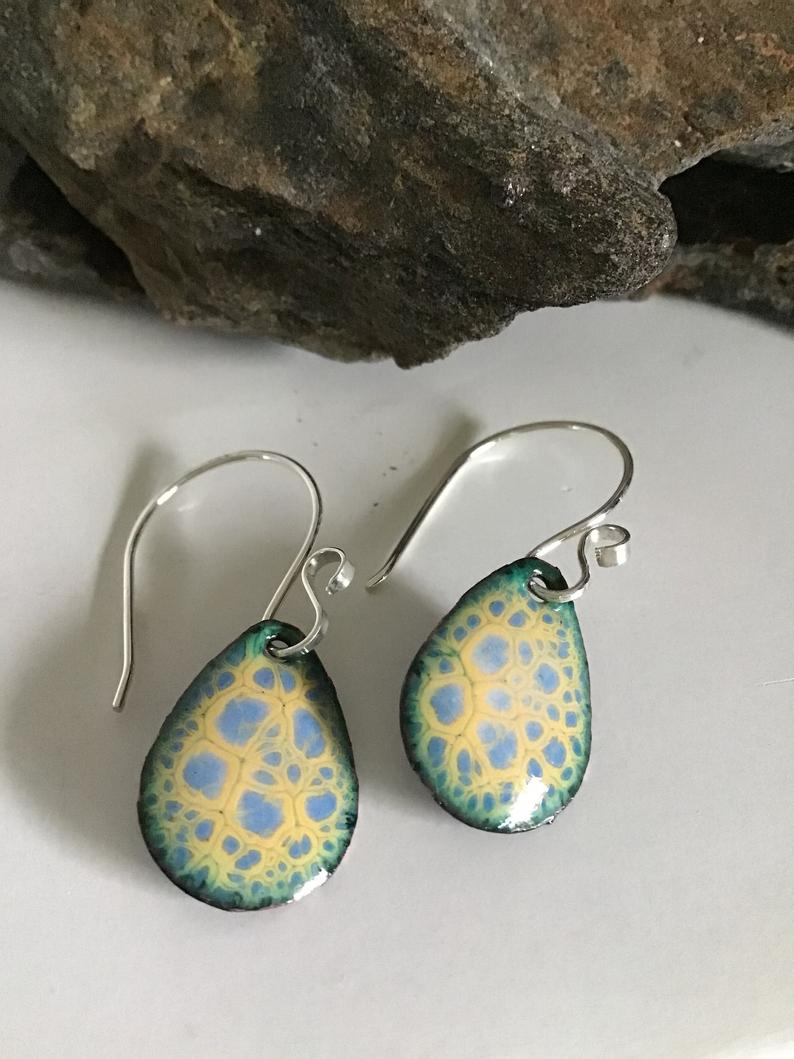 Blue and Yellow Crackle Teardrop Earrings