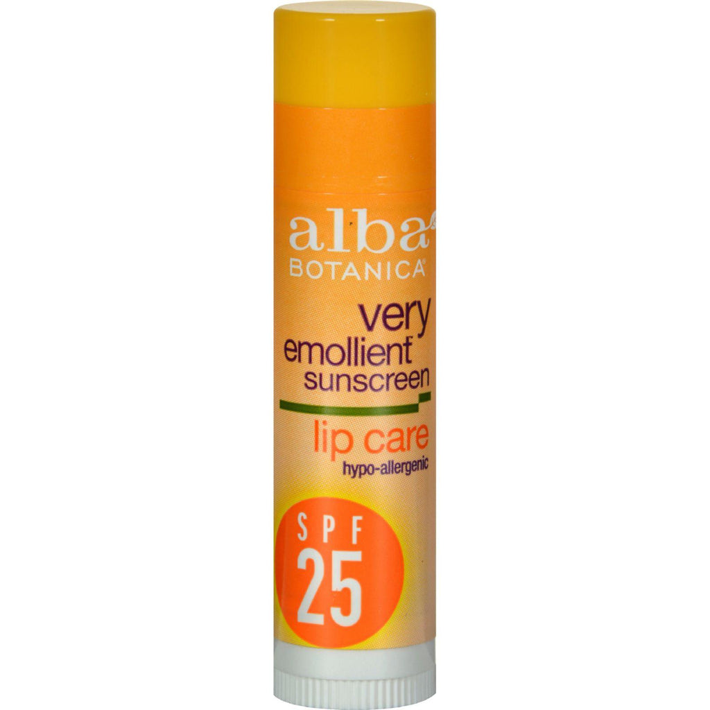 Alba Botanica Very Emollient Sunblock Lipcare Spf 25 - 0.15 Oz - Case Of 24