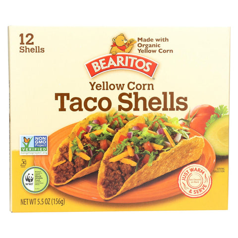 Bearitos Taco Shells - Yellow Corn - Case Of 12 - 5.5 Oz.
