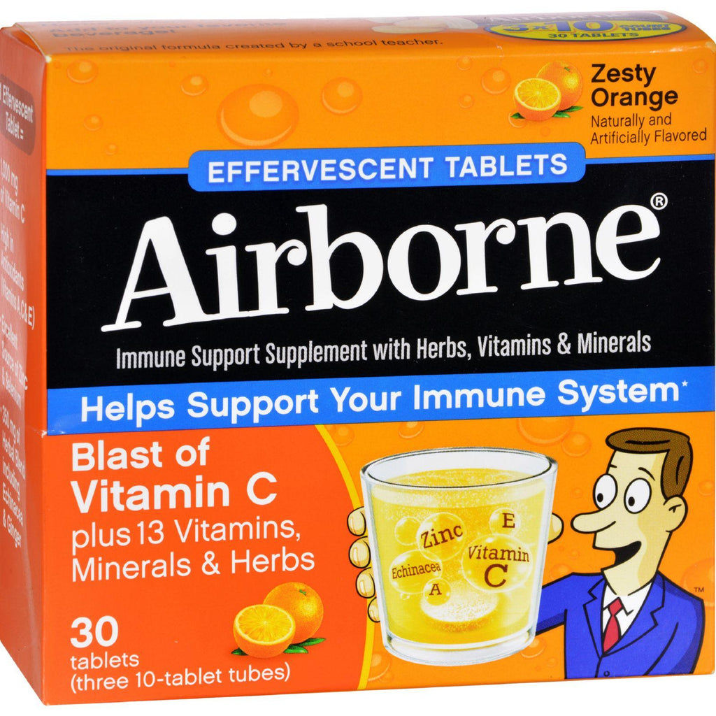 Airborne Effervescent Tablets Vitamn C - Zesty Orange - 10 Tablets - 3 Pack
