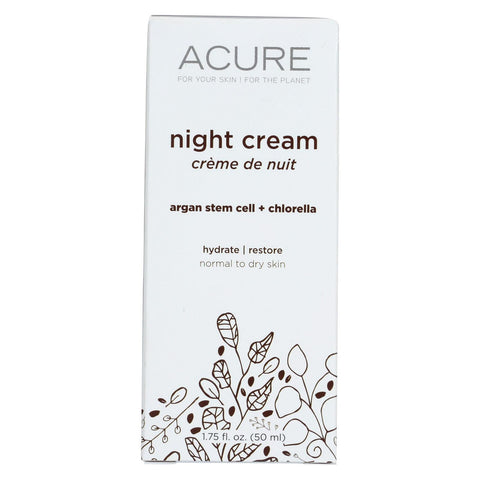 Acure Night Cream - Argan Extract And Chlorella - 1.75 Fl Oz.