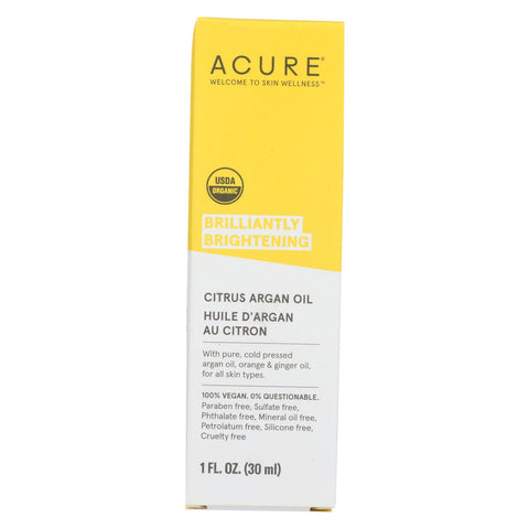 Acure - Argan Oil - Brilliantly Brightening - Citrus Ginger - 1 Fl Oz