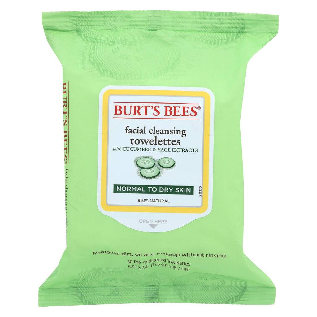 Burts Bees Face Towelette - Cucumber Sage - Case Of 3 - 30 Count