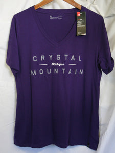 Womens V neck Crystal Tee