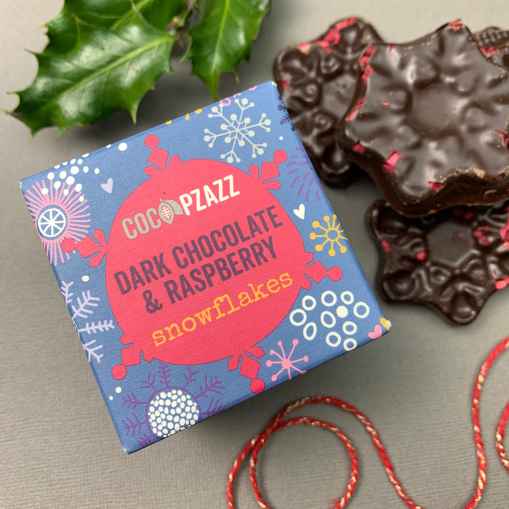 Raspberry chocolate snowflakes