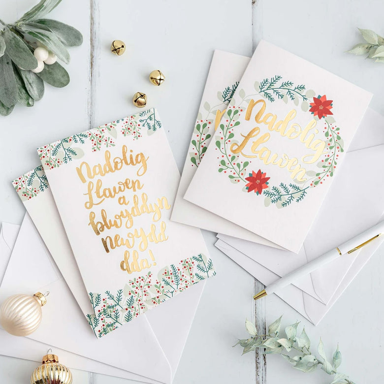 Floral Welsh christmas cards - pack of 4