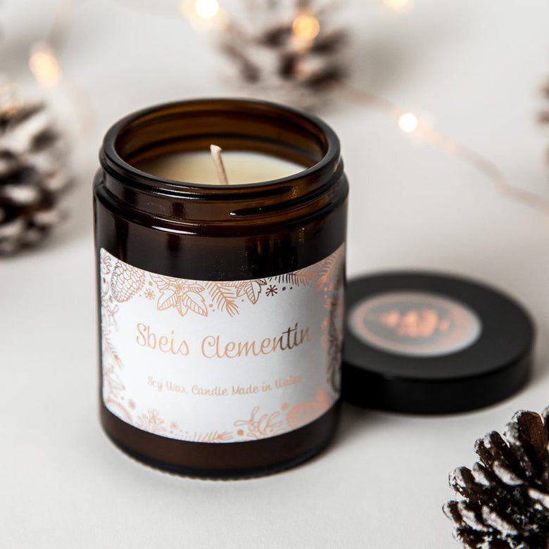 Clementine spice candle in glass jar