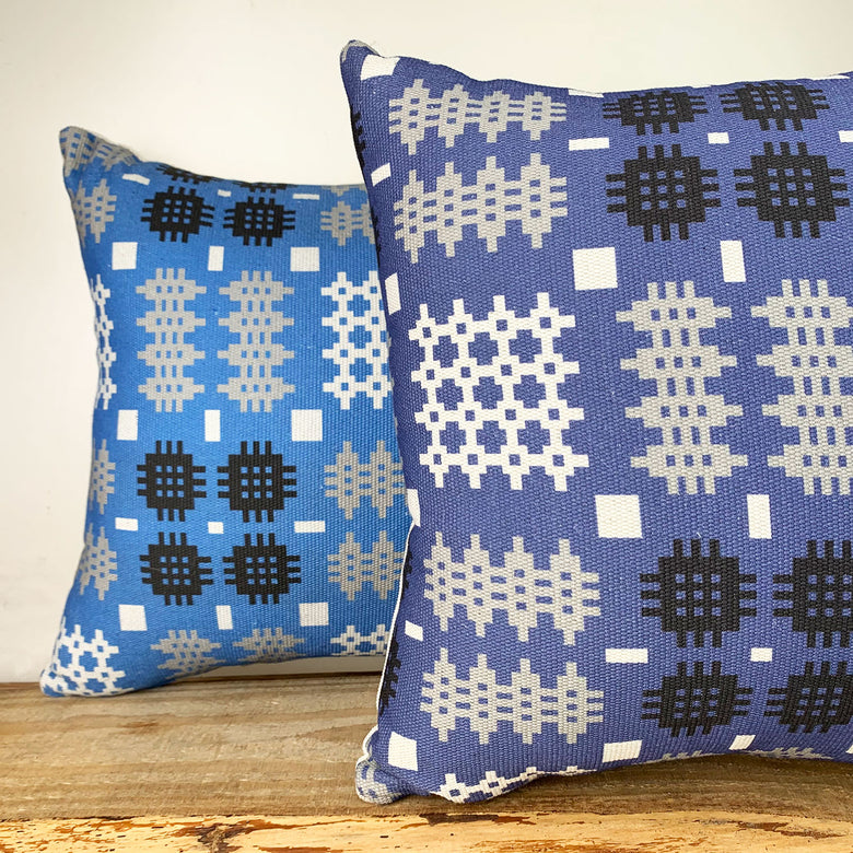 Welsh blanket print cushion - square, denim