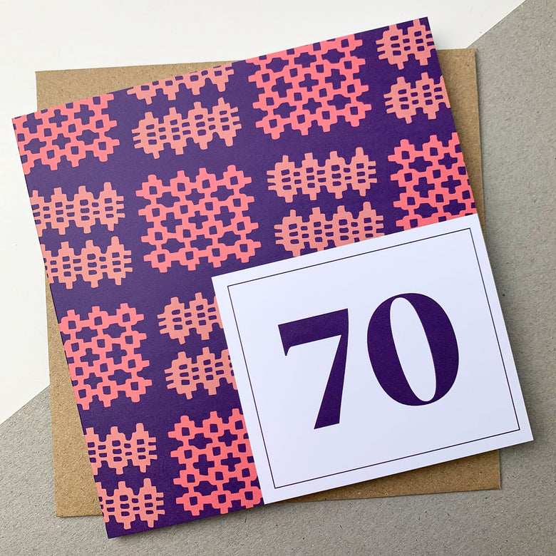 70th birthday card - pink carthen