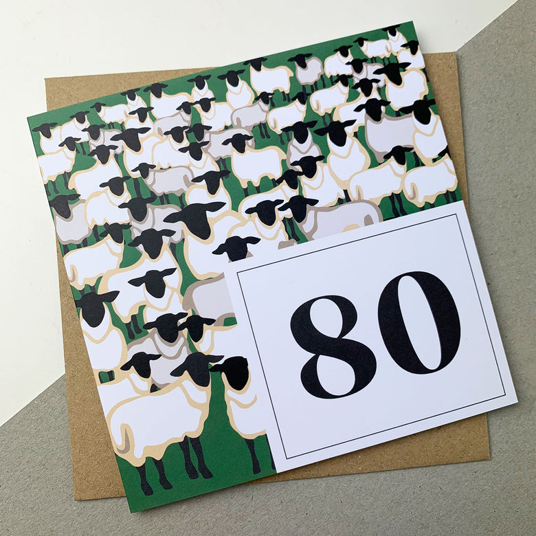 80th birthday card - sheep