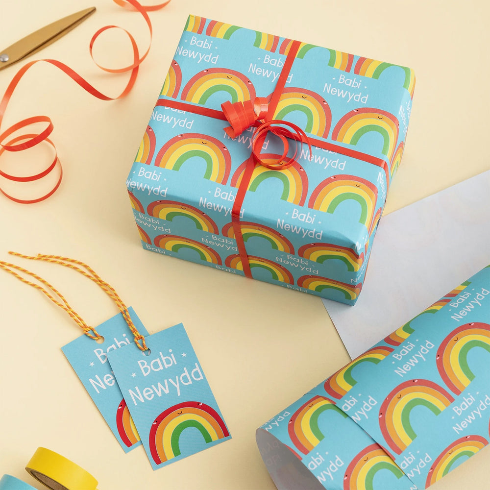 New baby wrap and tag set - blue rainbow