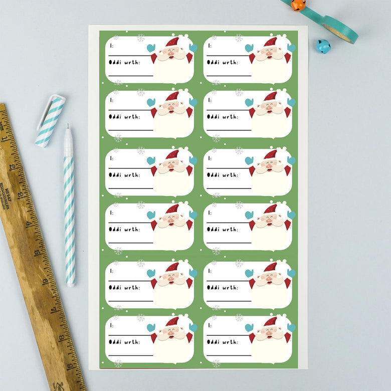 Welsh Christmas gift labels - santa