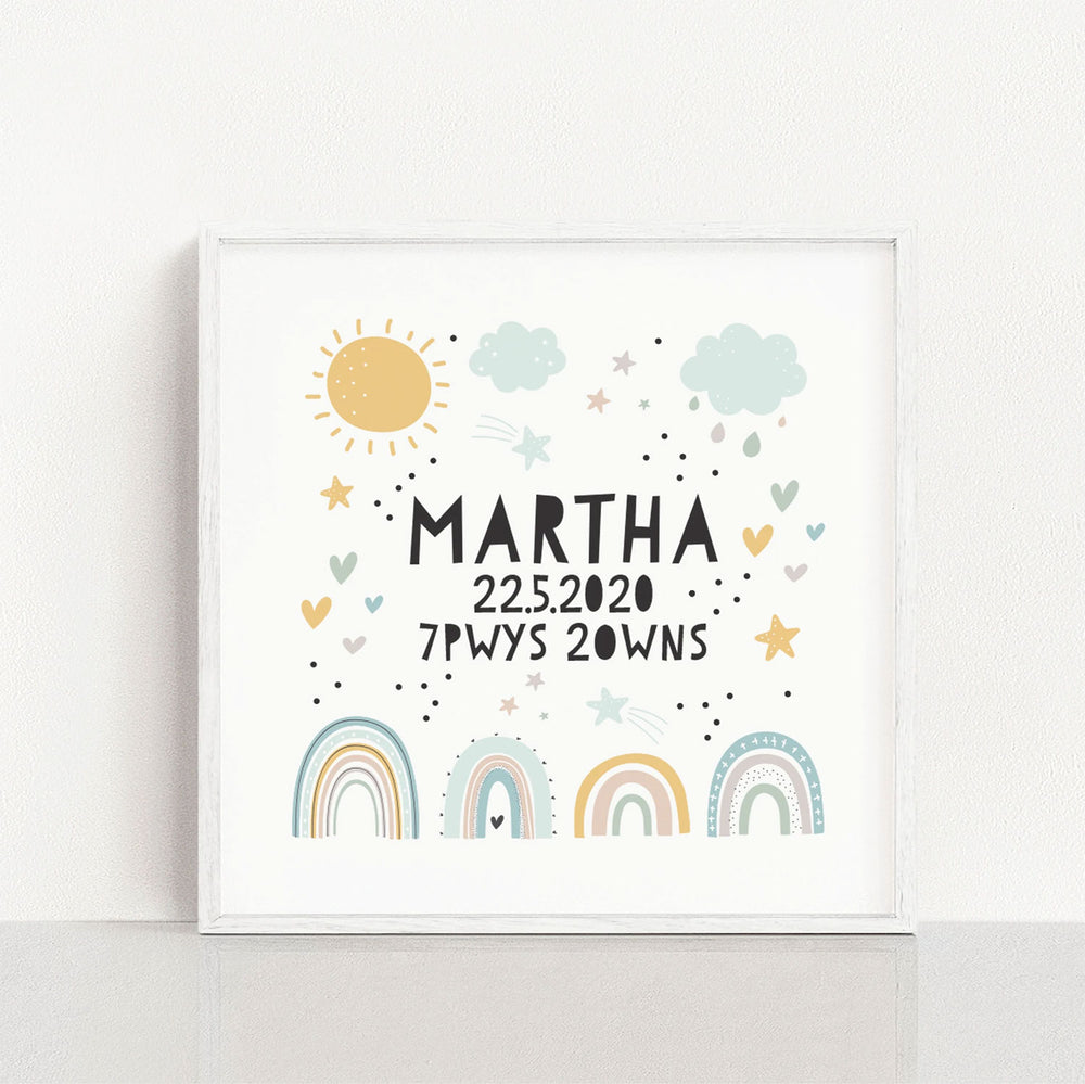 Personalised new baby rainbow print
