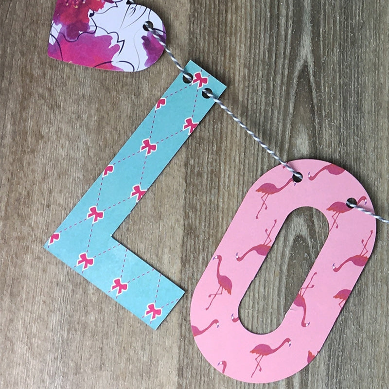 Personalised pink floral bunting
