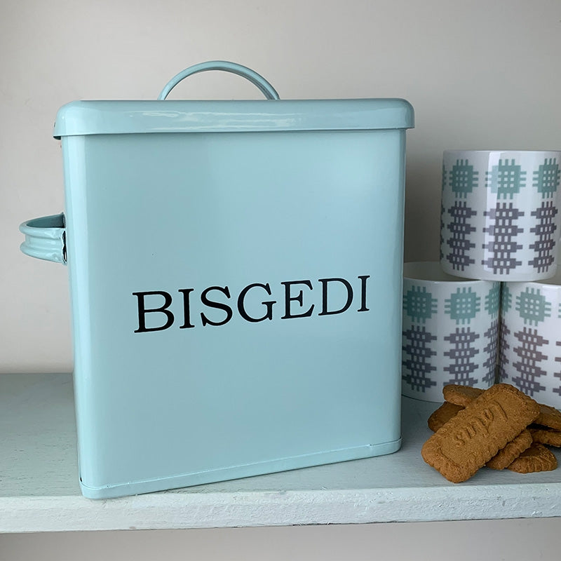 Bisgedi biscuits tin, duck egg blue