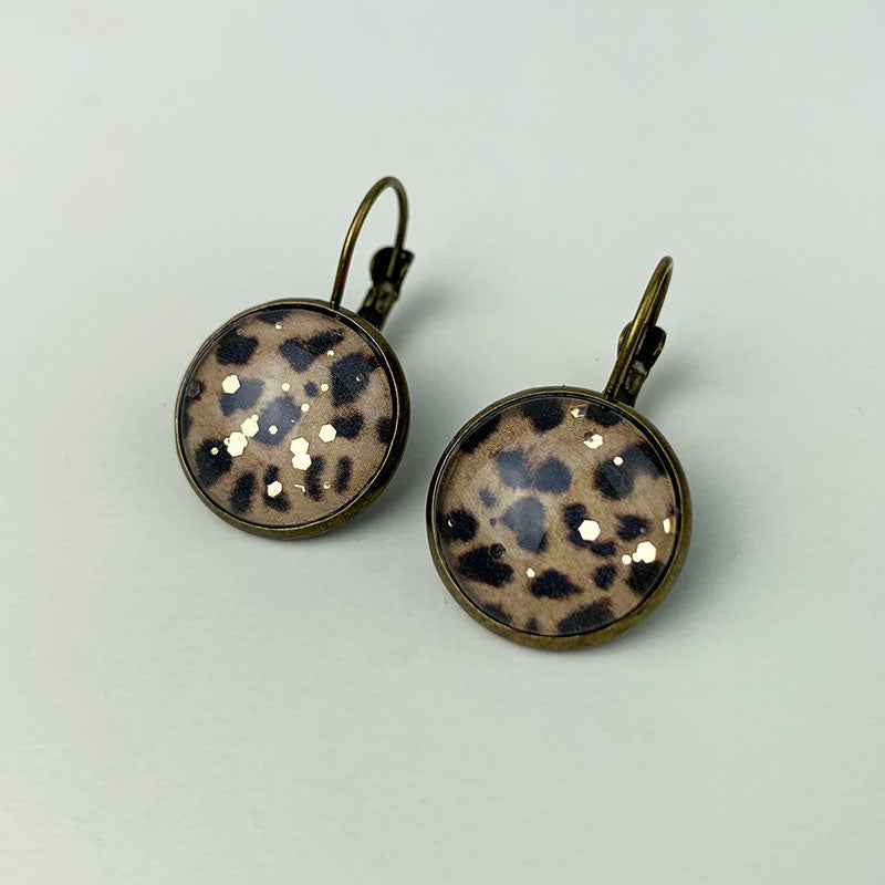 Animal print earrings - brown