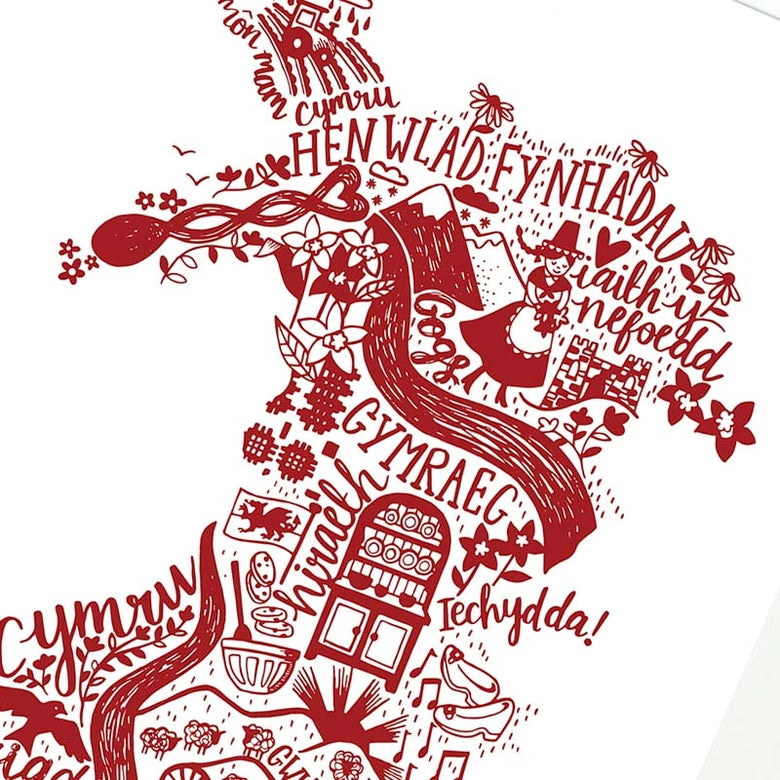 Wales print - red