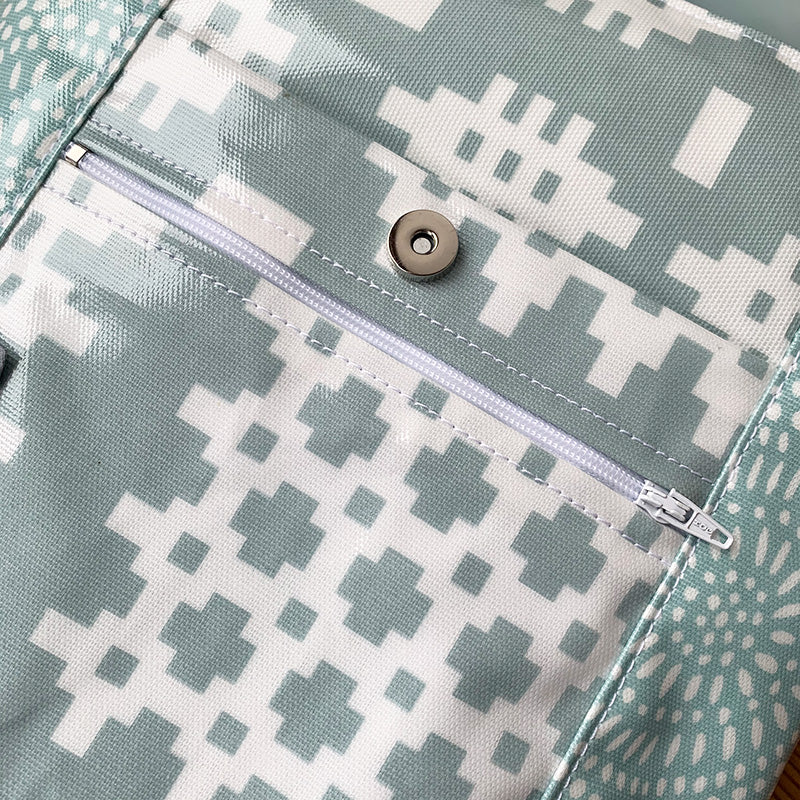 Welsh oilcloth Reporter bag - duck egg blue carthen/starburst