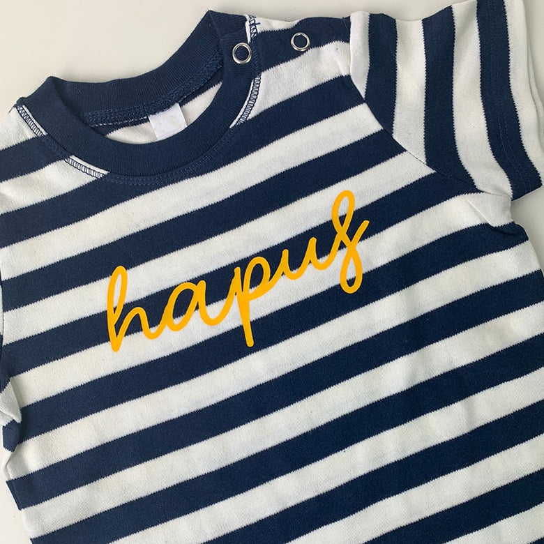 Hapus baby t-shirt - navy stripes