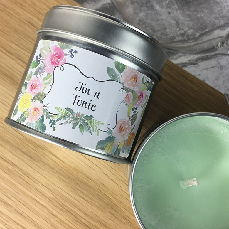 gin and tonic candle in a tin