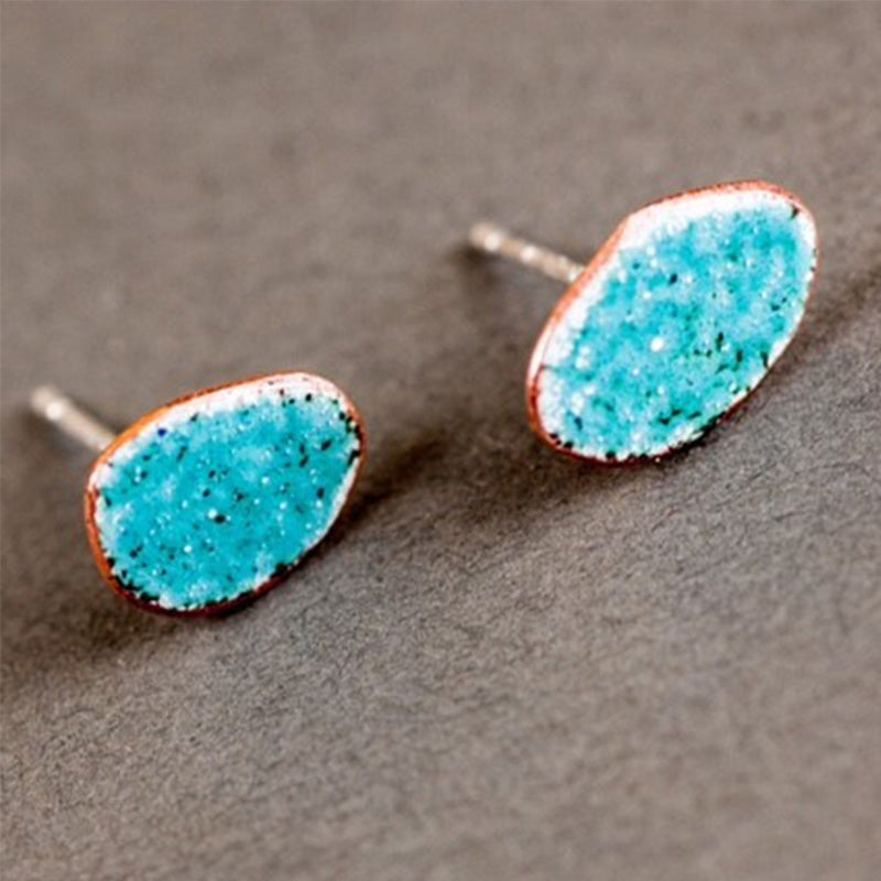 Enamel pebble stud earrings - turquoise