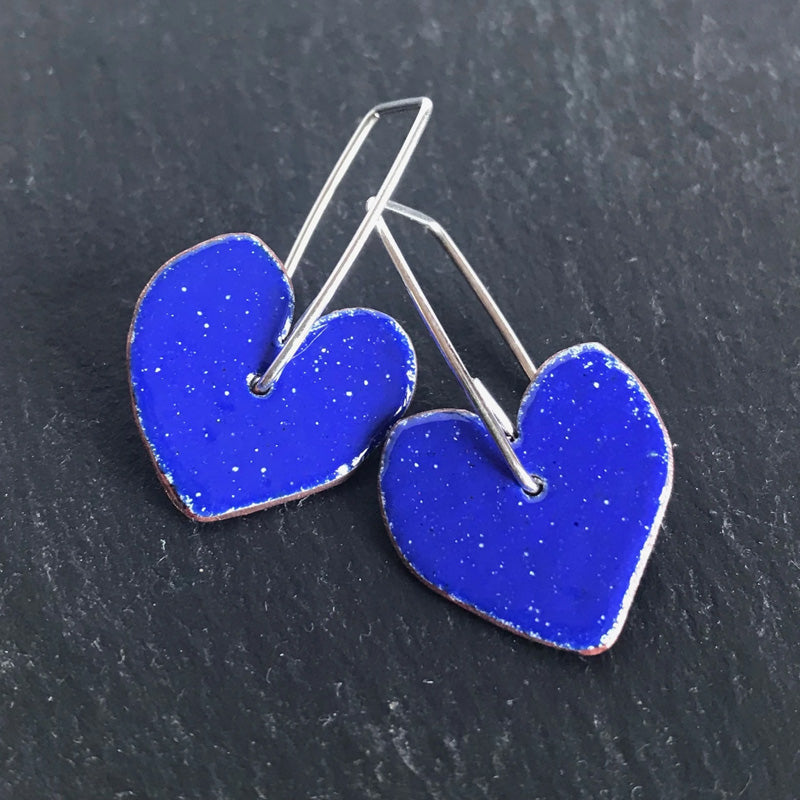 Enamel heart earrings - cornflower blue