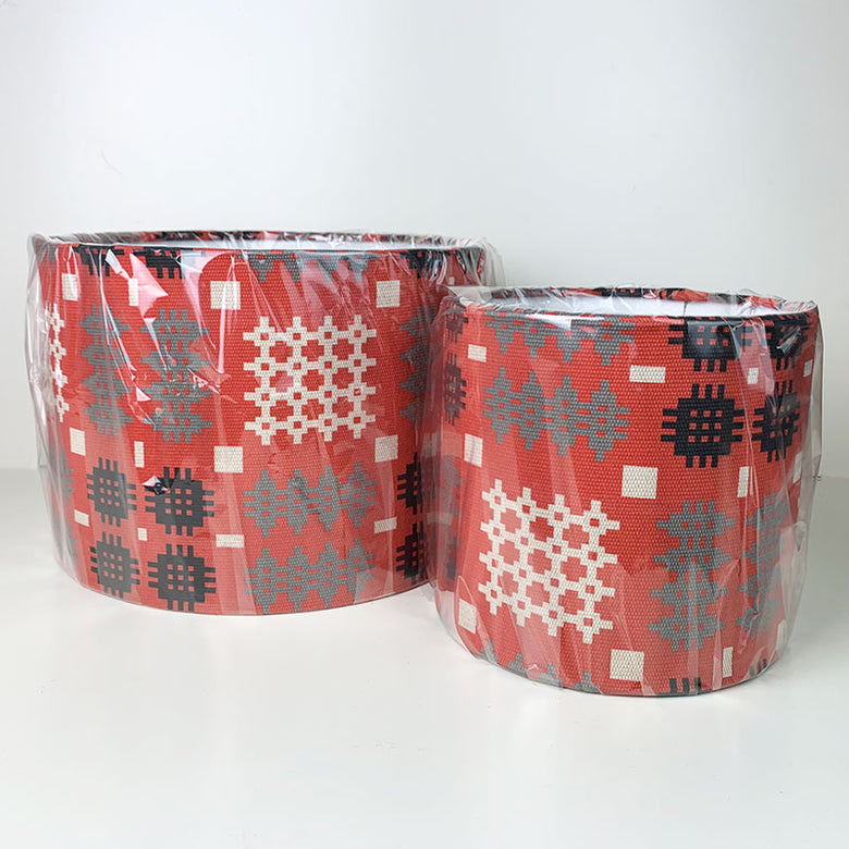 Welsh blanket print lampshade - red